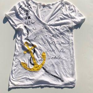 JCrew women's v-neck anchor short sleeve T-shirt